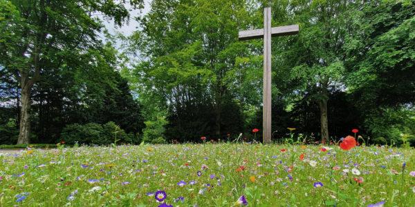 Hochkreuz auf dem Gelsenkirchener Hauptfriedhof inmitten einer Blumenwiese.